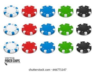Poker chips isolated on white background. Vector illustration.