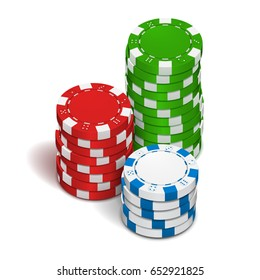 Poker chips isolated on white background. Vector illustration.