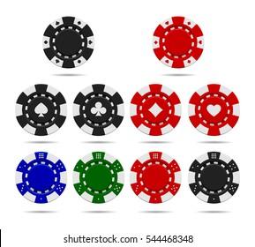 Poker chips set isolated on white background. Vector illustration