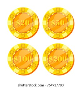 Poker Chips Vector. Flat, Cartoon Set. 20, 50, 100, 200 Dollar Sign. Game Money. Gold Poker Game Chips Sign Isolated On White Background. Casino Gambling Chips Illustration