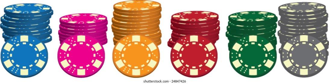 Poker chips vector set