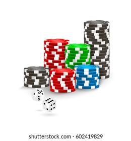 Poker Chips and White Casino Dice on white. Vector illustration