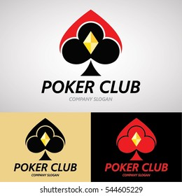 Poker Club Logo Design for Casino Business, Gamble, Card Game, Speculate, etc. Vector Logo Template.