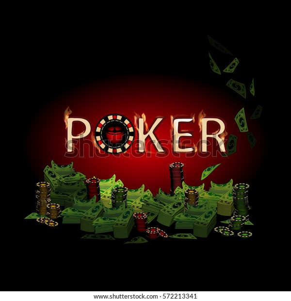 Poker Fire Text Money On Dark Stock Vector (Royalty Free