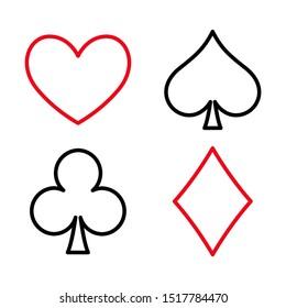 Poker flat icon card suites game and sign symbol logo illustration design