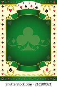 Poker game green club background. A green background for your Poker Tour with a club shape. Write your message on the empty frame.