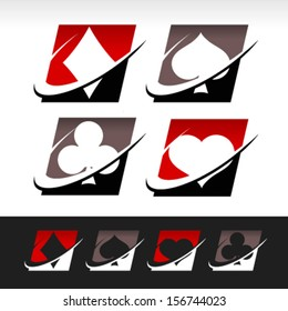 Poker game logo icons with swoosh graphic elements