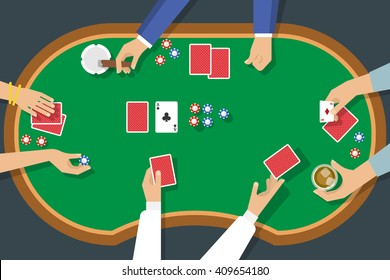 Poker game top view with female and male hands deck of cards chips cigar alcohol vector illustration