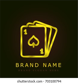 Poker golden metallic logo