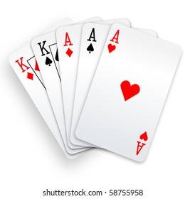 A Poker Hand Full House three Aces and pair of Kings playing cards.