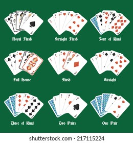 Poker hands set with royal flush four of kind full house isolated vector illustration