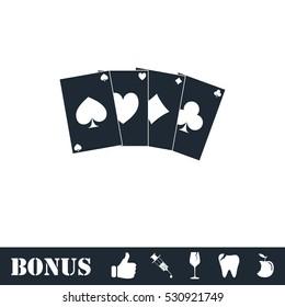 Poker icon flat. Vector illustration symbol and bonus pictogram