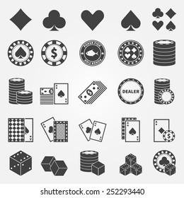 Poker icons set - vector playing cards or gambling casino symbols