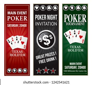 Poker invitation event vertical flyer eps 10 text is outline