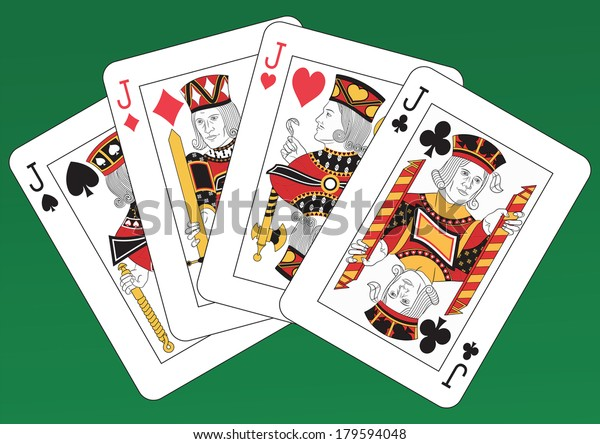 Poker of Jacks playing cards on a green background. Each card is full and isolated