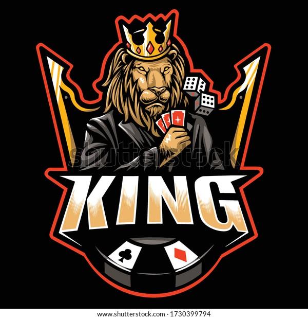 Poker Lion King Esport Logo Vetor Stock Vector Royalty Free 1730399794