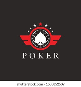 poker logo with a star shape, and a spade, a world line, and two wings and masculine color combinations make this design. unique, elegant, modern.