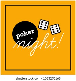Poker Night Typography With Two Dice Rolling Sixes