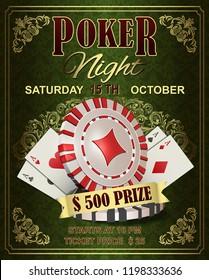 Poker Night vintage poster.Vector illustration.