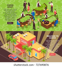 Poker night and welcome to casino horizontal banners with gaming room interior people and casino building isometric elements vector illustration