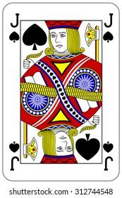 Poker playing card Jack spade