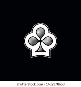 Poker playing card suit clover outline shape single icon. Clubs suit deck of playing cards used for ace in Las Vegas royal casino. Single icon illustration isolated on black. Drawing pic for tattoo.