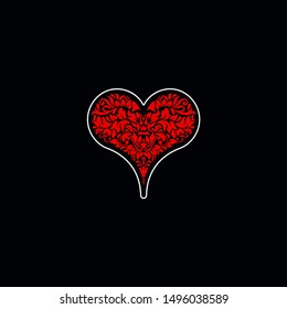 Poker playing card suit Hearts design shape single icon. Hearts suit deck of playing card used for ace in Las Vegas royal casino. Single icon pattern isolated on black. Ornament drawing pic for tattoo