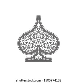 Poker playing card suit Spades design shape single icon. Spades suit deck of playing card used for ace in Las Vegas royal casino. Single icon pattern isolated on white. Ornament drawing pic for tattoo