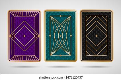 Poker playing cards back side design - black, turquoise, violet and golden colored