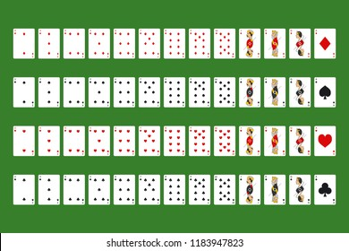 Poker Playing Cards Full Deck on a Green Symbol of Gambling in Casino. Vector illustration of Game Set
