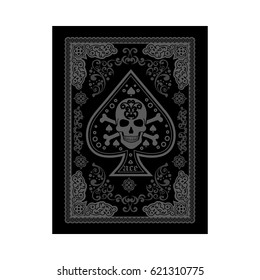 poker playing cards, vintage ace of spades with skulls