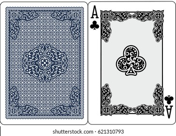 poker playing cards, vintage ace of clubs