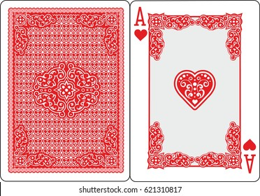 poker playing cards, vintage ace of heart