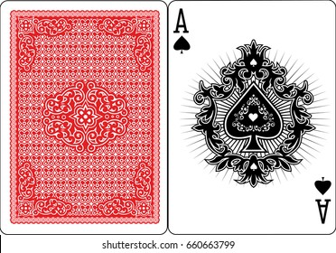 poker playing cards, vintage ace of spades