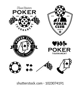Poker related labels emblems badges design elements set. Texas holdem poker club tournament logotype collection. Human hand holding ace of spades. Vector vintage illustration.