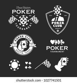 Poker related labels emblems badges design elements set. Texas holdem poker club tournament logotype collection. Human hand holding ace of spades. Vector vintage illustration.