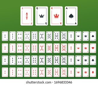 Poker set with isolated cards on green background. EPS 10