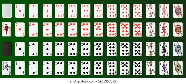 Poker set with isolated cards on a green background. Poker cards, full deck. Realistic 3d vector illustration