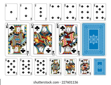 Poker size Club playing cards plus playing card back. New original playing card deck design. Symbol worked  into Jack, Queen and King. Reverse of deck features pattern with interwoven suit symbols.