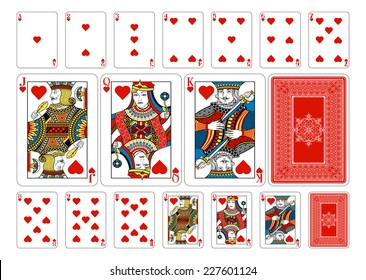 Poker size Heart playing cards plus playing card back. New original playing card deck design. Symbol worked  into Jack, Queen and King. Reverse of deck features pattern with interwoven suit symbols.
