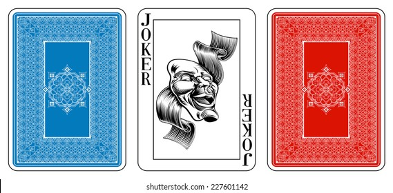 Poker size joker playing card plus playing card back. New original playing card deck design. Symbol worked  into Jack, Queen and King. Reverse of deck features pattern with interwoven suit symbols.