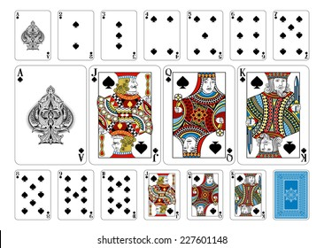 Poker size Spade playing cards plus playing card back. New original playing card deck design. Symbol worked  into Jack, Queen and King. Reverse of deck features pattern with interwoven suit symbols.