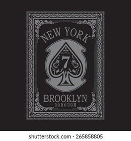 Poker spade cards typography, t-shirt graphics, vectors
