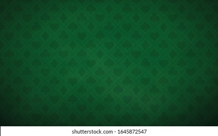 Poker table background in green color. Vector illustration.