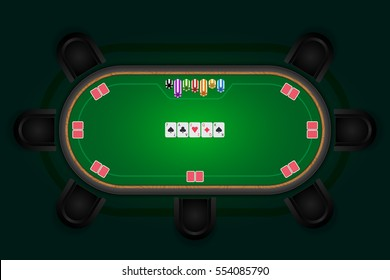 Poker table with black chairs and cards with chips. Vector illustration.