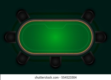 Poker table with black chairs. Vector illustration.