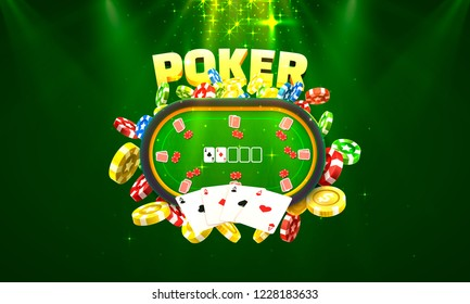 Poker table with the cards and chips on a green background. Vector illustration