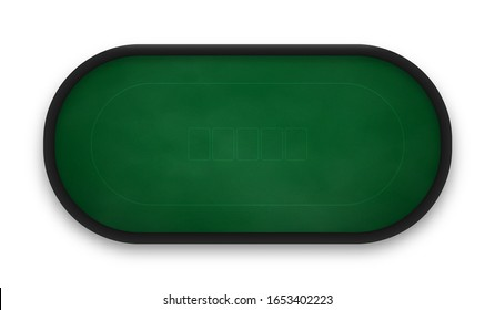 Poker table made of green cloth isolated on white background. Realistic vector illustration.