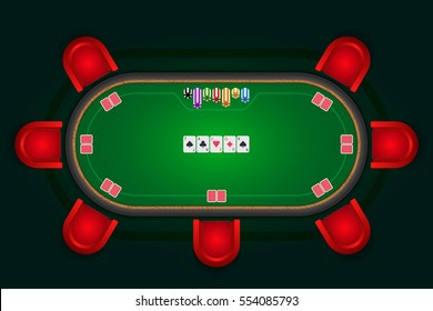 Poker table with red chairs and cards with chips. Vector illustration.