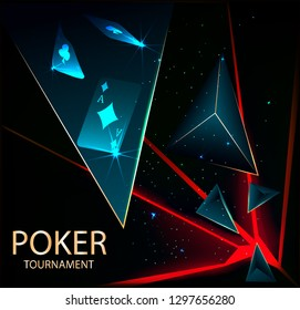 Poker tournament. Vector illustration. Playing cards on black background. Gambling concept